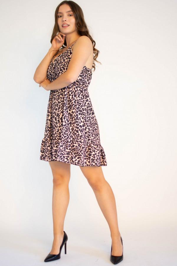Sukienka w panterkę na ramiączkach Michelle