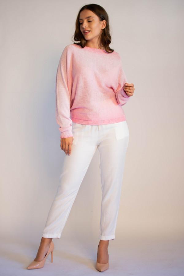 Sweter damski różowy z zamkiem na plecach Luise