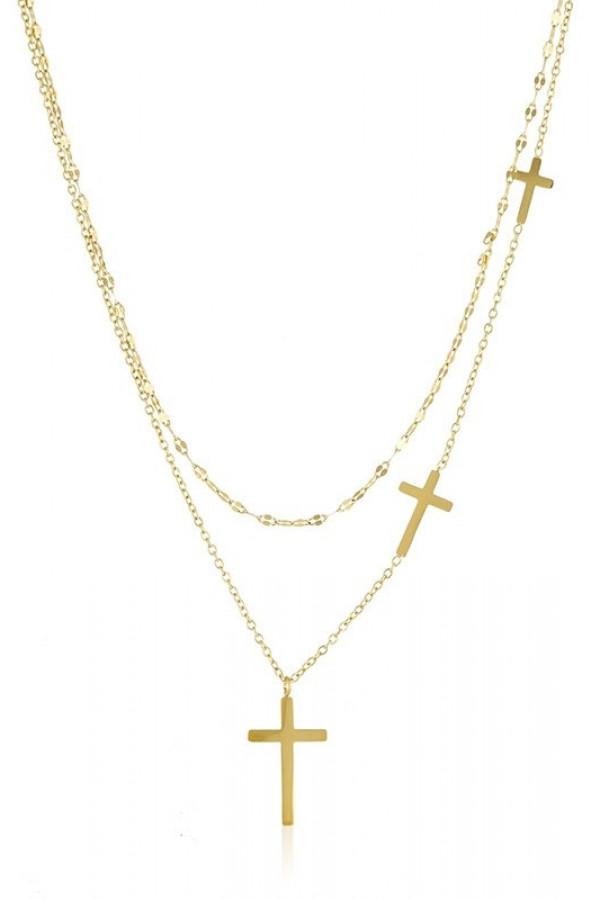 Naszyjnik celebrytka kaskadowy Crosses