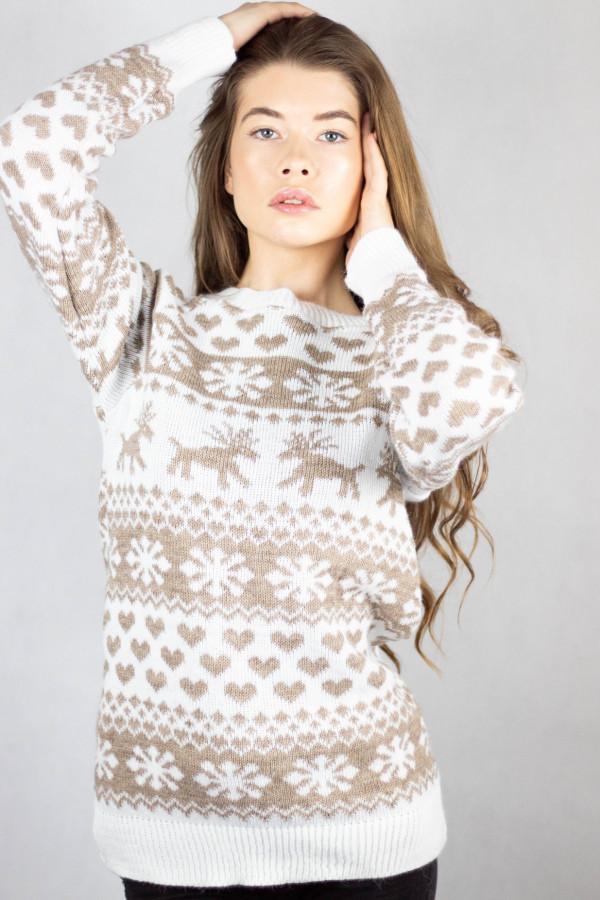 Świąteczny biały sweter Snowflakes