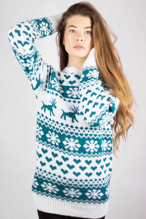 Świąteczny niebieski sweter Snowflakes