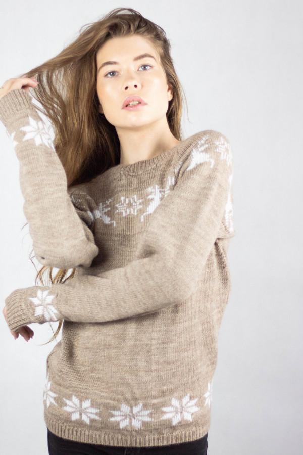 Sweter świąteczny brązowy Renifer
