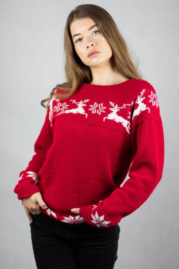 Sweter świąteczny czerwony Renifer