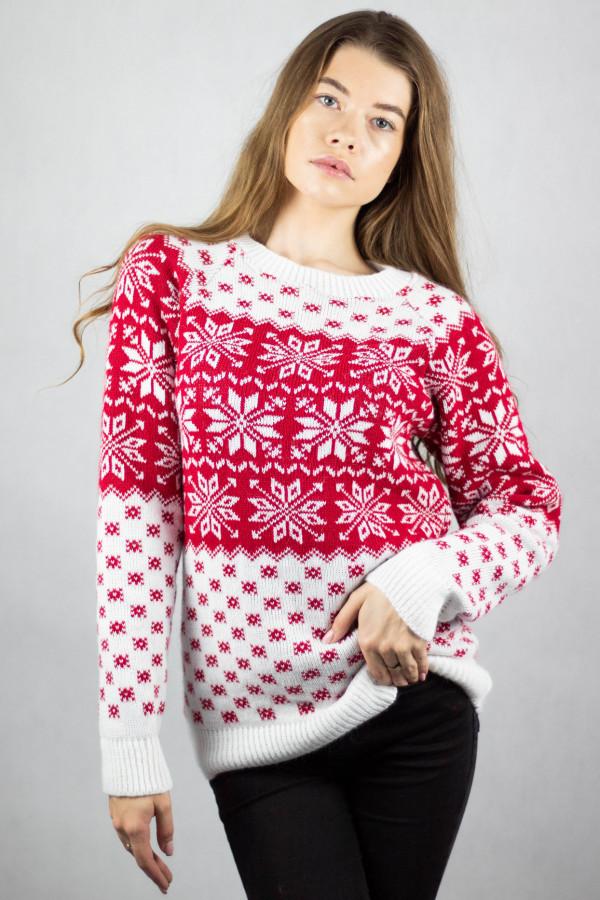 Biały świąteczny sweter Snow