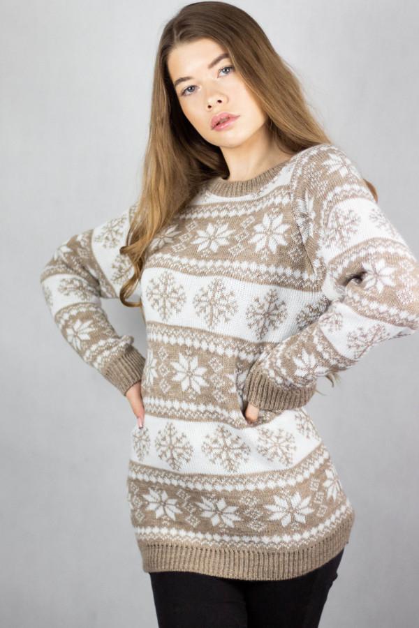 Świąteczny beżowy sweter Snowfall