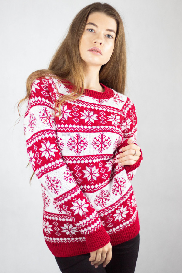 Świąteczny czerwony sweter Snowfall