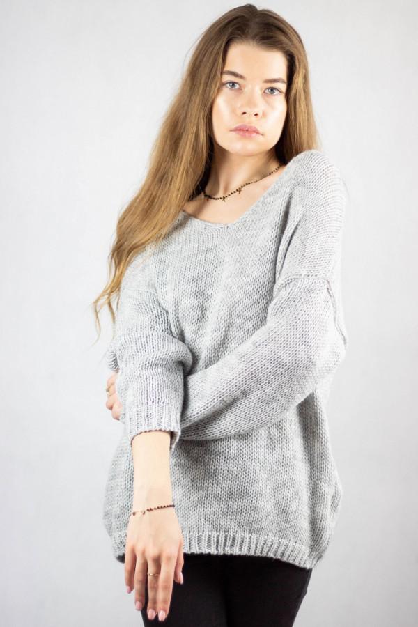 Szary sweter V-Neck Mona