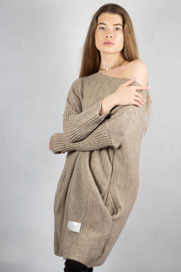 Brązowy sweter tunika Olivia
