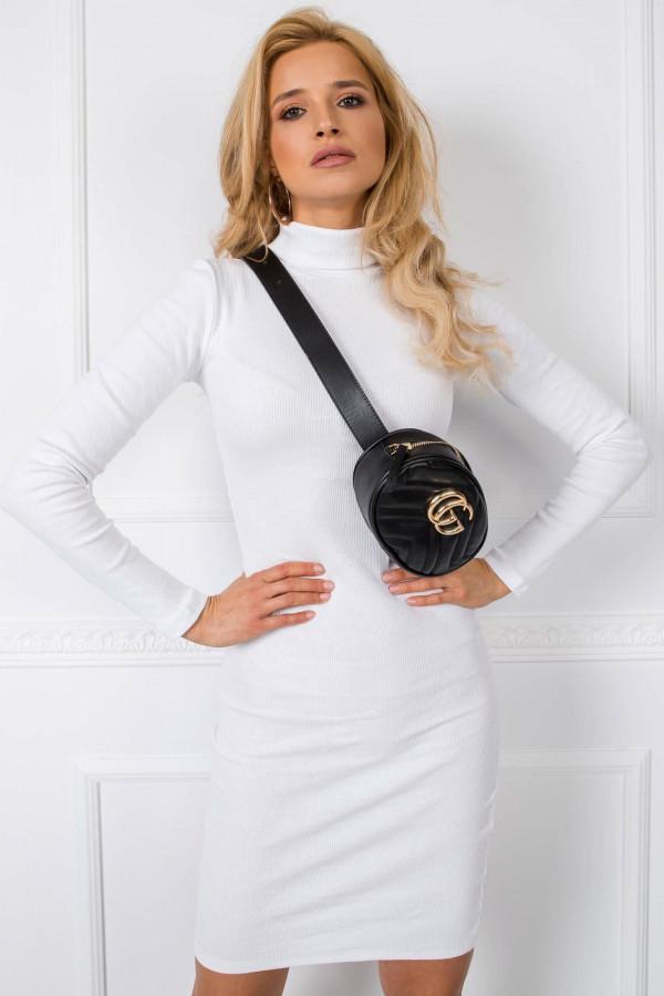 Biała dopasowana sukienka z golfem Valence