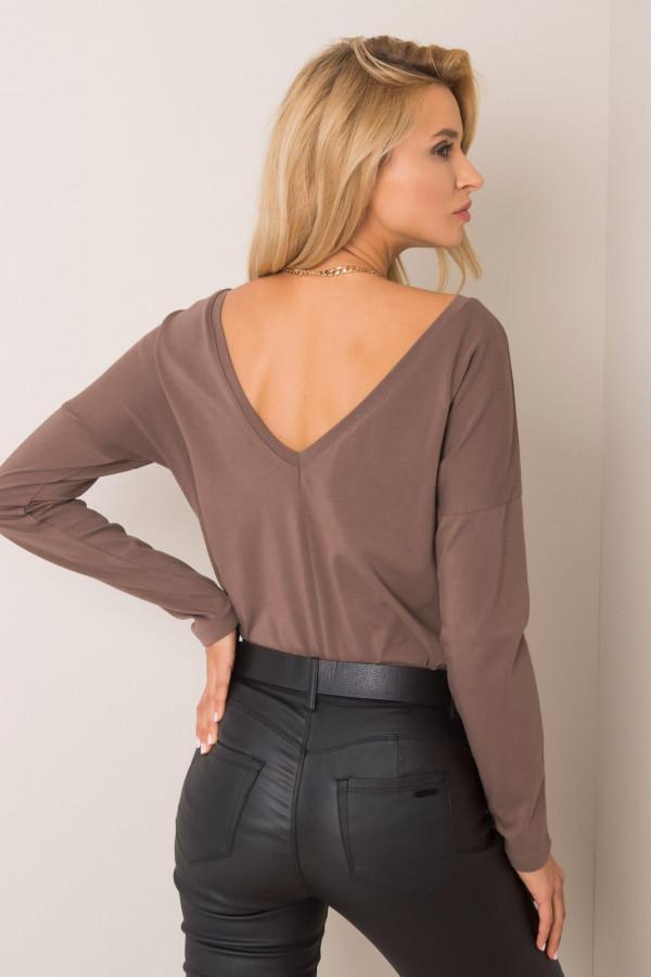 Brązowa bluzka z wycięciem na plecach Voiron