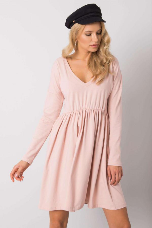 Jasnoróżowa sukienka rozkloszowana Pontoise