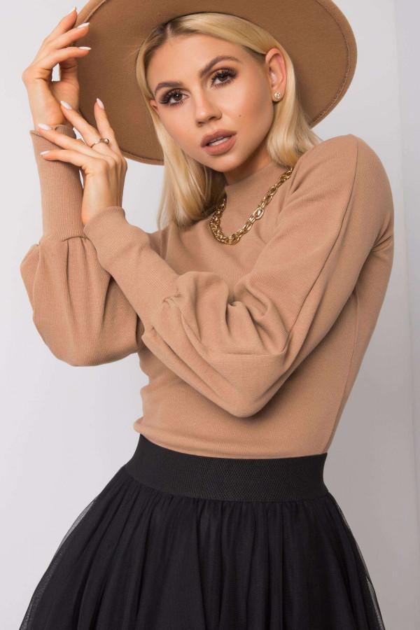 Karmelowa bluza z bufiastymi rękawami Versal