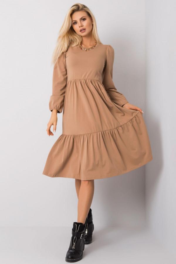 Karmelowa sukienka midi z falbankami Olivet