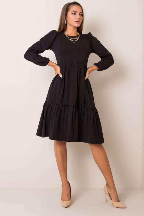 Czarna sukienka midi z falbankami Sassari