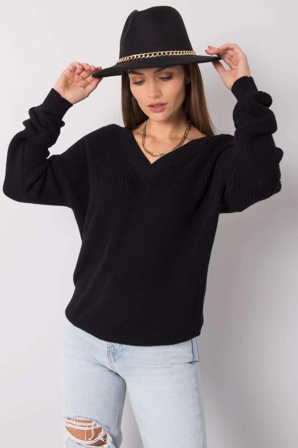 Czarny sweter V-Neck Uscio