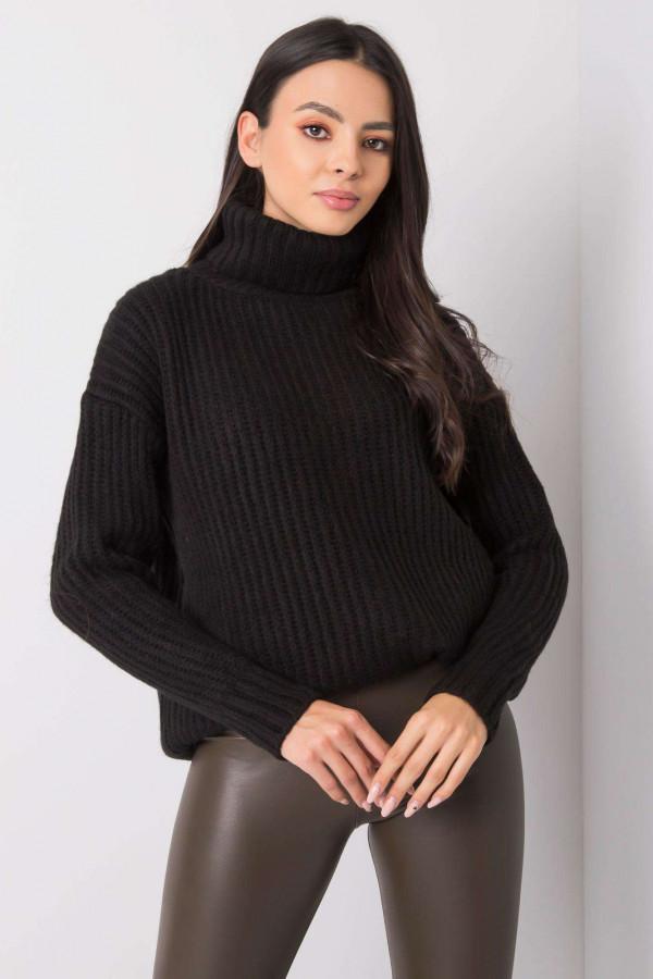 Czarny duży sweter z golfem Tivoli