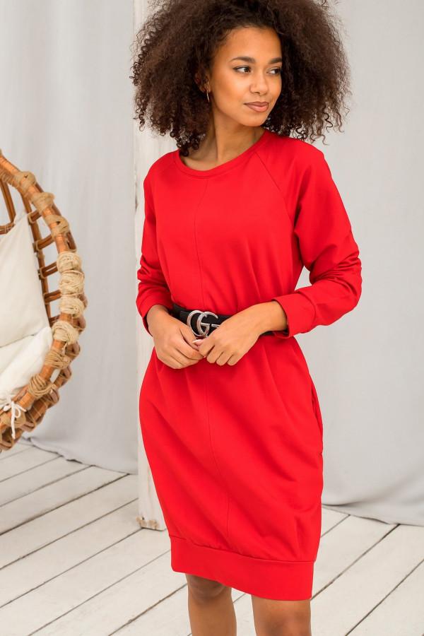 Czerwona sukienka bluza Lukka