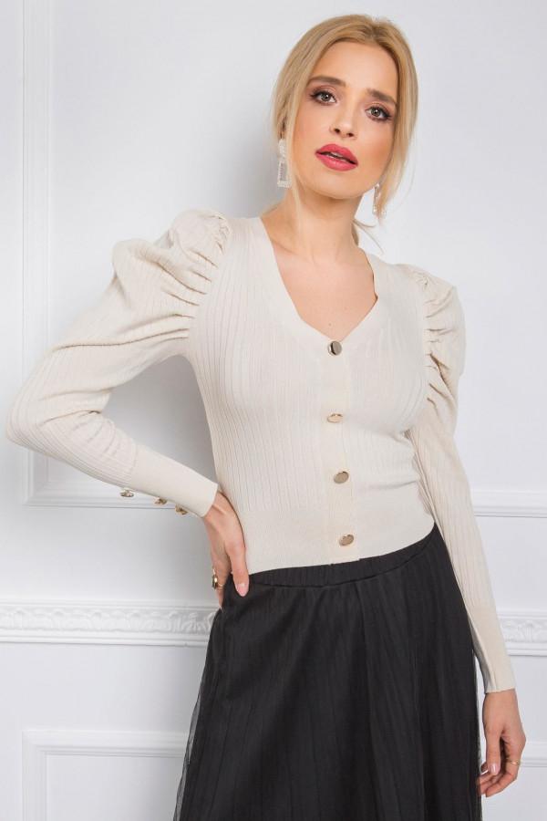 Beżowy sweter rozpinany z bufiastymi rękawami Adana