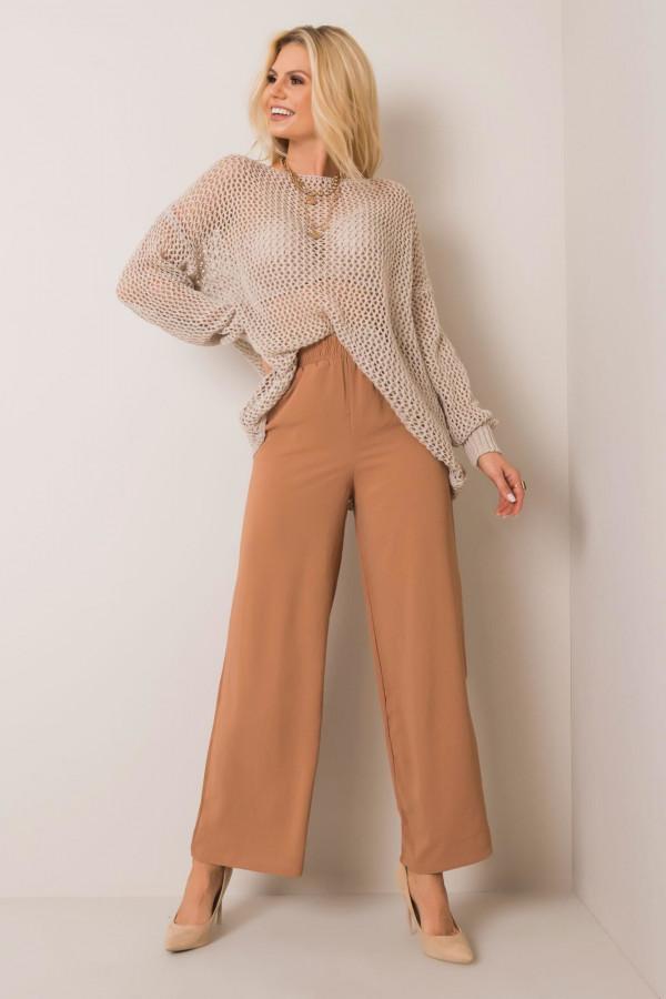 Karmelowe spodnie materiałowe Millau