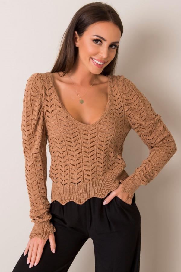 Karmelowy sweter ażurowy Rennes