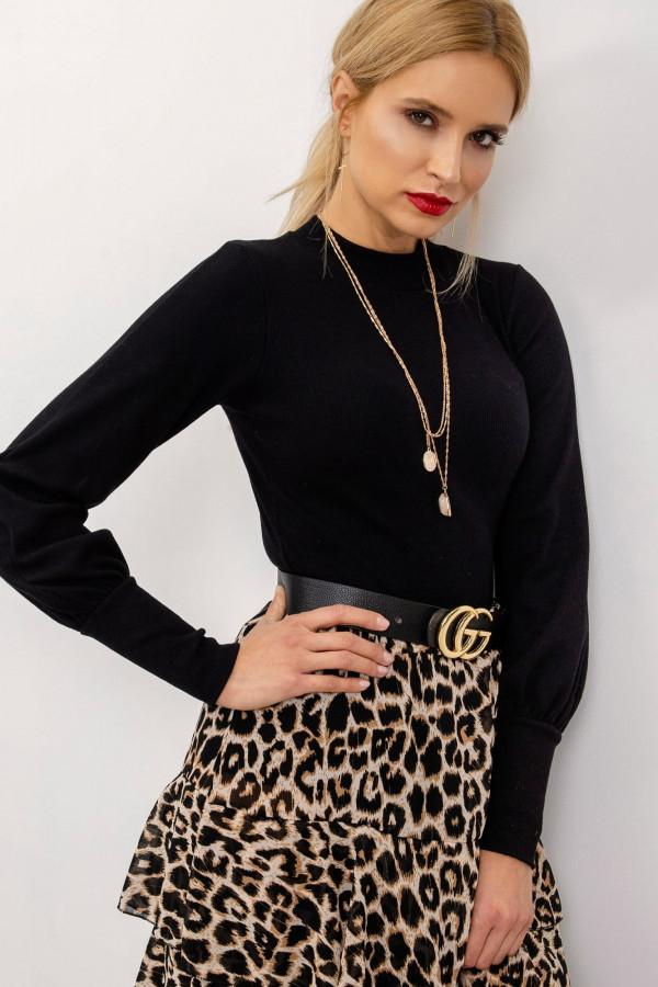 Czarna bluzka z bufiastymi rękawami Laval