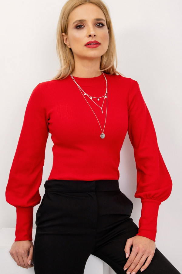 Czerwona bluzka z bufiastymi rękawami Fecamp
