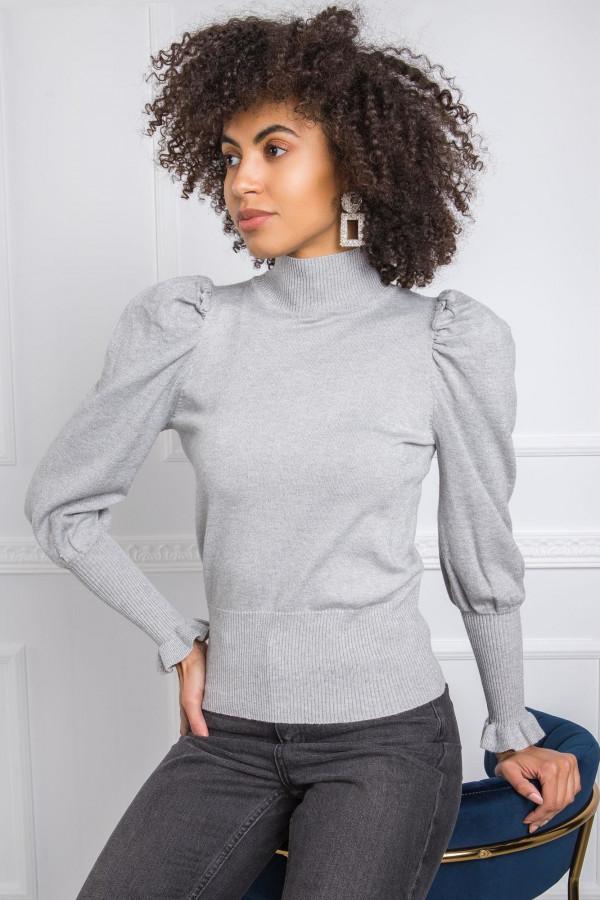 Szary sweter z bufiastymi rękawami Bondys