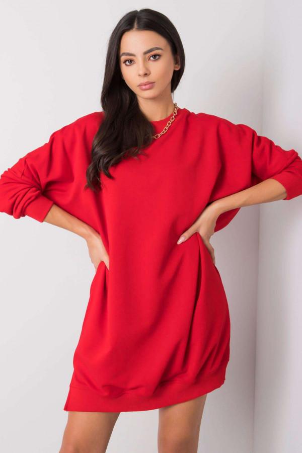 Czerwona sukienka bluza oversize Sassy