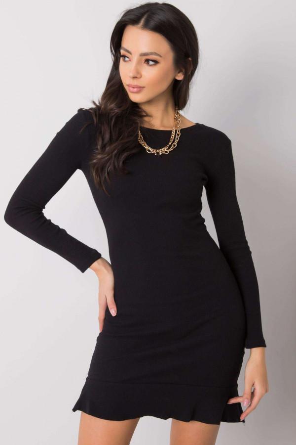 Czarna sukienka z falbanką Rose