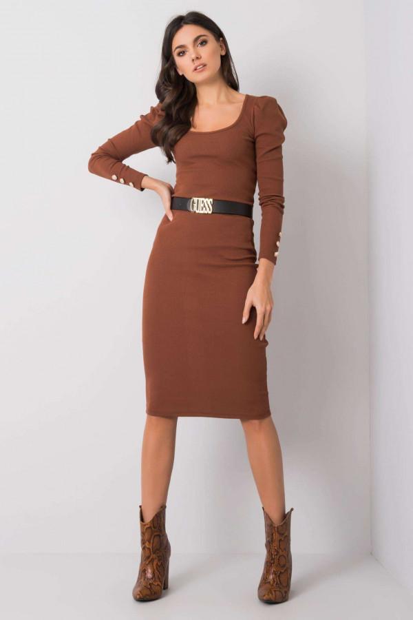 Brązowa ołówkowa spódnica midi Chara