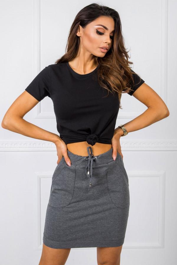 Ciemnoszara dresowa spódniczka z kieszeniami Dahlia