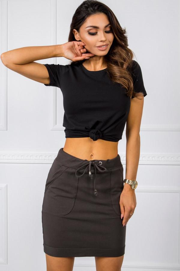Khaki dresowa spódniczka z kieszeniami Dahlia