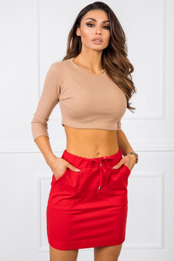 Czerwona dresowa spódniczka z kieszeniami Dahlia