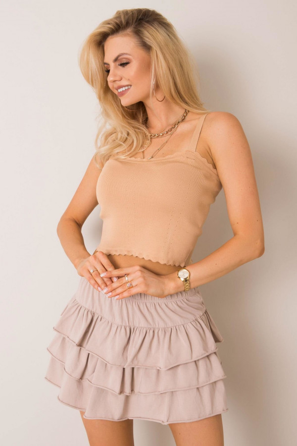Beżowa spódniczka z falbankami mini Mari