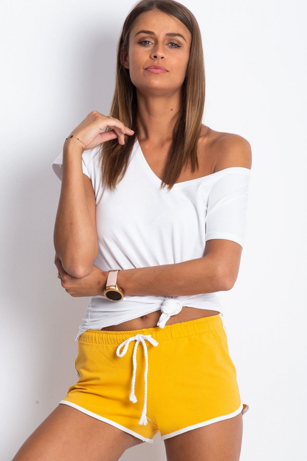 Żółte szorty sportowe z lampasami Calla
