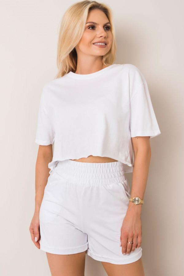 Białe eleganckie spodenki bawełniane Petal