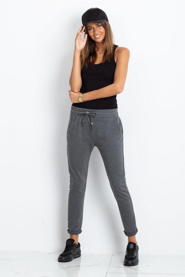 Ciemnoszare spodnie dresowe z kieszeniami Sage