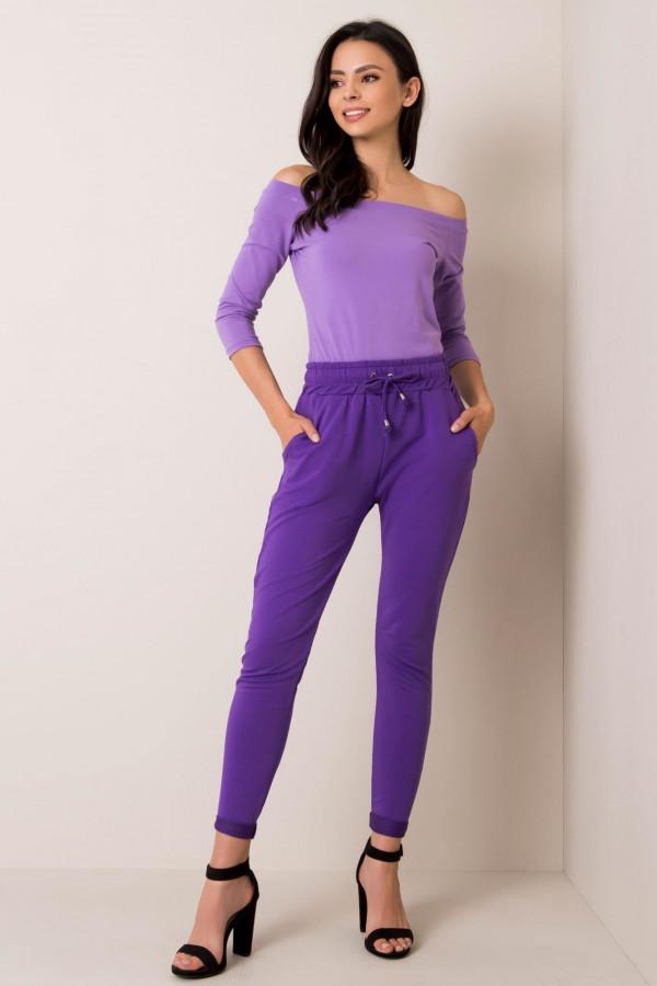 Fioletowe spodnie dresowe z kieszeniami Sage