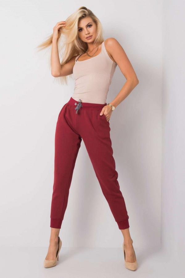 Ekologiczne bordowe spodnie dresowe z kieszeniami Peans