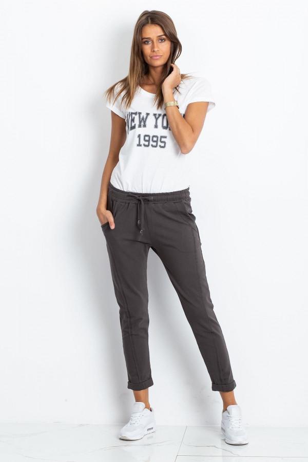 Khaki spodnie dresowe z kieszeniami Viole