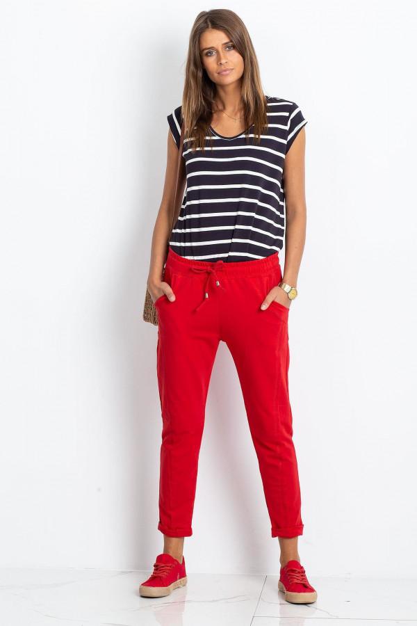 Czerwone spodnie dresowe z kieszeniami Viole