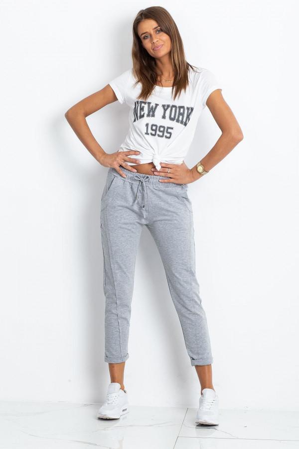 Jasnoszare spodnie dresowe z kieszeniami Viole