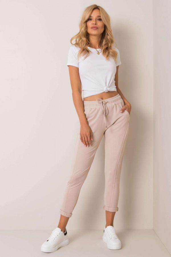 Beżowe spodnie dresowe z kieszeniami Viole
