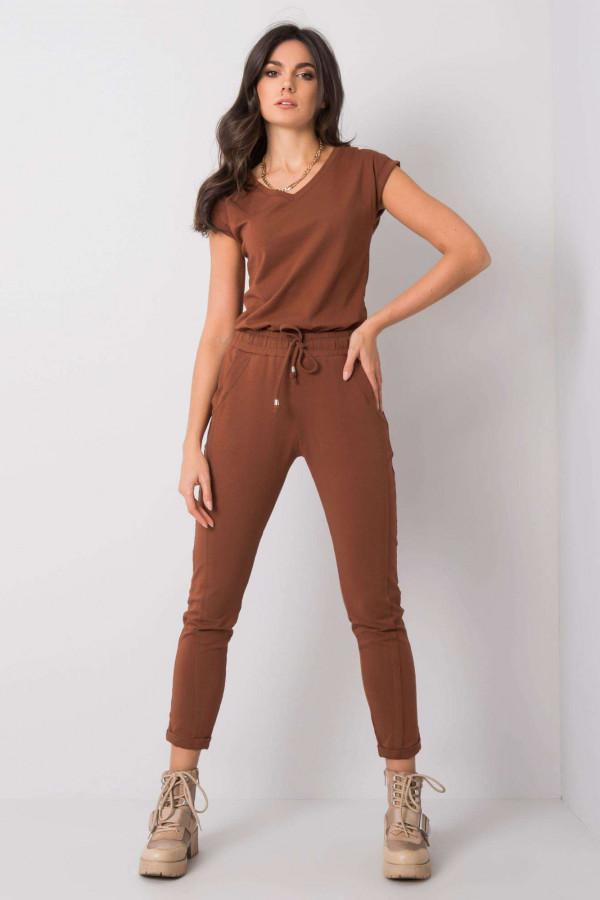 Brązowe spodnie dresowe z kieszeniami Viole
