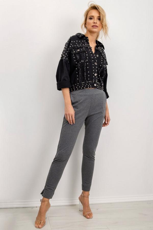 Ciemnoszare dresowe spodnie slim fit Clara