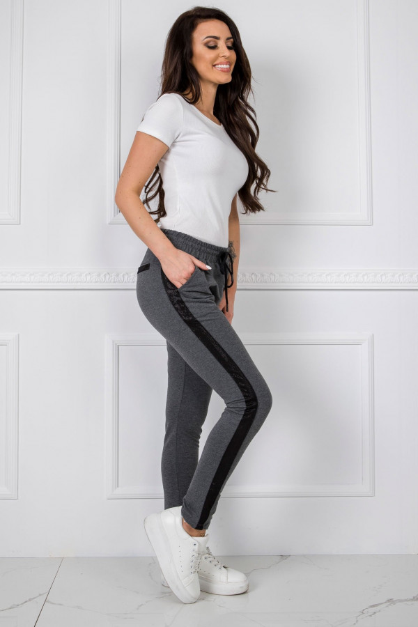 Ciemnoszare dresowe spodnie z lampasami Nikki