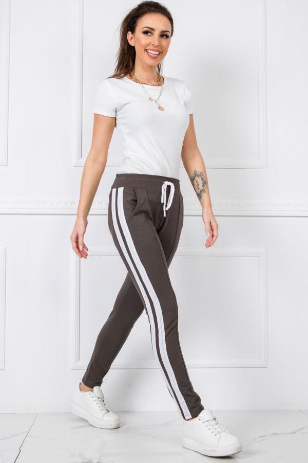 Khaki spodnie dresowe z lampasami Iris