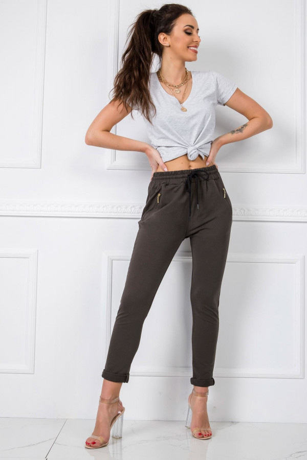 Khaki spodnie dresowe z wysokim stanem Primes