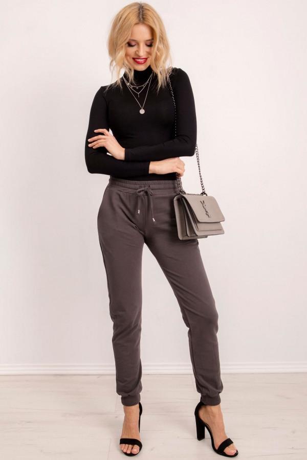 Khaki spodnie dresowe ze ściągaczami Lilo