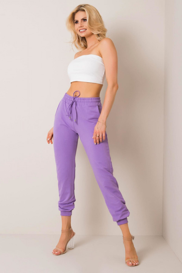 Fioletowe spodnie dresowe ze ściągaczami Lilo